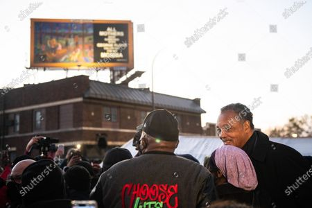 Reverend Jesse Jackson looks out at the crowd after the Derek Chauvin Trial Verdict at George Floyd Square, the corner of 38th Street and Chicago Avenue