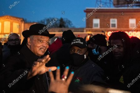 Reverend Jesse Jackson waves to the crowd after the Derek Chauvin Trial Verdict at George Floyd Square, the corner of 38th Street and Chicago Avenue