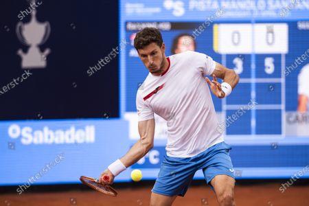 Stock Picture of Pablo Carreno Busta of Spain during the 68th Torfeu Conde de Godó; Real Club de Tennis, Barcelona, Catalonia, Spain; ATP Tour, Mens Singles, Barcelona Open Tennis.