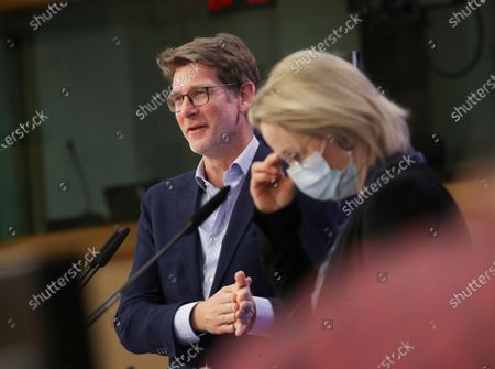 European Parliament's Committee on Environment, Public Health and Food Safety (ENVI) chair Pascal Canfin (L) and committee member Jytte Guteland give a press conference following a decision over the Climate Law in Brussels, Belgium, 21 April  2021. Negotiators of the European Parliament and EU Member States reached a breakthrough on the so-called Climate Law, which is a main part of the European Green Deal, Europe's plan to become climate neutral by 2050