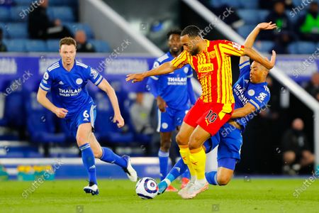 Youri Tielemans of Leicester City slides in on Matt Phillips of West Bromwich Albion; King Power Stadium, Leicester, Midlands, England; English Premier League Football, Leicester City versus West Bromwich Albion.