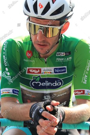 Simon Yates Team BikeExchange who held onto the tour leaders jersey; Cycling Tour des Alpes Stage 4, Naturns/Naturno to Pieve di Bono, Italy on 22nd.