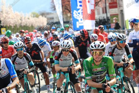 In Green, Simon Yates Team BikeExchange who held onto the tour leaders jersey; Cycling Tour des Alpes Stage 4, Naturns/Naturno to Pieve di Bono, Italy on 22nd.