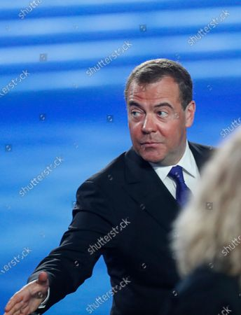 Deputy chairman of the Russian Security Council, Dmitry Medvedev attends Russian President Vladimir Putin's annual address to the Federal Assembly at the Manezh Central Exhibition Hall in Moscow, Russia, 21 April 2021. About 1,100 people including lawmakers of Russian two-chamber parliament, Government members, heads of the Constitutional and Supreme courts, and regional governors, were invited to attend the event. About 435 Russian and foreign journalists were accredited to cover the event.
