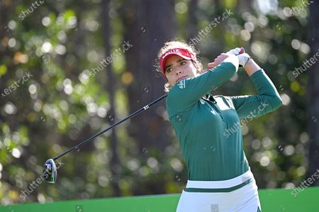 Gaby Lopez, of Mexico, watches her tee shot on the second hole during the final round of the Tournament of Champions LPGA golf tournament, in Lake Buena Vista, Fla