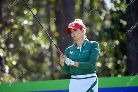 Gaby Lopez, of Mexico, sets up for her tee shot on the second hole during the final round of the Tournament of Champions LPGA golf tournament, in Lake Buena Vista, Fla