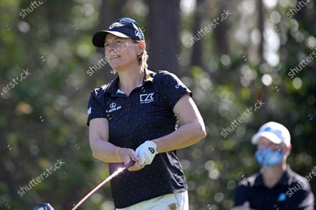 Annika Sorenstam, of Sweden, watches her tee shot on the second hole during the final round of the Tournament of Champions LPGA golf tournament, in Lake Buena Vista, Fla