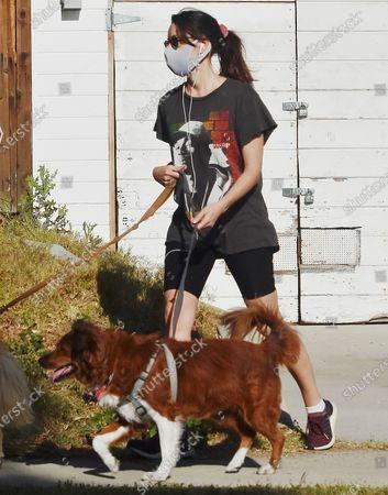 Aubrey Plaza walking her dogs