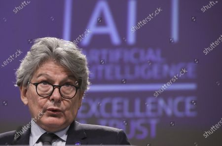 European Commissioner in charge of internal market Thierry Breton speaks during a media conference on an EU approach to artificial intelligence, following a weekly meeting of EU Commissioners, at EU headquarters in Brussels
