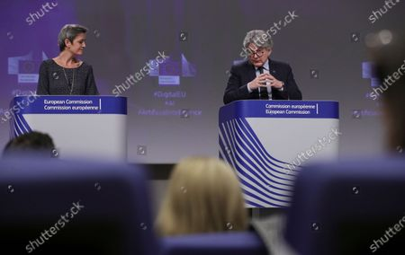 Executive Vice President of the European Commission for A Europe Fit for the Digital Age, Margrethe Vestager (L), and European Commissioner in charge of internal market Thierry Breton (R), give a press conference on the EU approach to Artificial Intelligence following the weekly meeting of the EU Commission in Brussels, Belgium, 21 April 2021.
