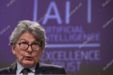 European Commissioner in charge of internal market Thierry Breton gives a press conference on the EU approach to Artificial Intelligence following the weekly meeting of the EU Commission in Brussels, Belgium, 21 April 2021.