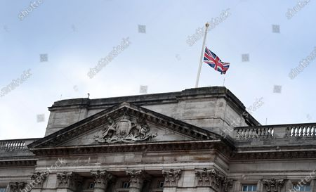The Union flag flies at half mast outside Buckingham Palace in London, Britain, 21 April 2021. The Queen is marking her 95th birthday while still in official mourning for her late husband Prince Philip. For the second year running the royal gun salutes, which usually mark the Queen's birthday have been cancelled due to the Covid-19 pandemic.