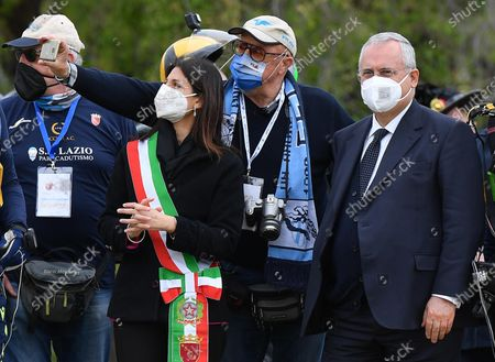 Mayor of Rome, Virginia Raggi (L), and SS Lazio president Claudio Lotito (R) in the Circo Massimo, the ancient Roman chariot-racing stadium and mass entertainment venue, in Rome, Italy, 21 April 2021, during the celebrations on the occasion of the foundation of the city (Natale di Roma).