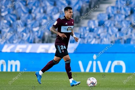 Jeison Murillo of RC Celta in action during the La Liga match between Real Sociedad CF and RC Celta at Reale Arena on April 22, 2021 in San Sebastian, Spain.