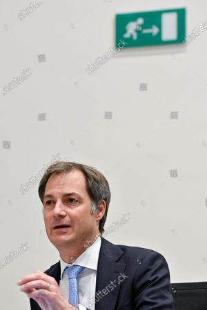 Stock Photo of Prime Minister Alexander De Croo pictured during a session of the chamber commission for interior affairs, with questions for the Prime Minister on the concertation committee, at the federal parliament, in Brussels, Wednesday 21 April 2021.