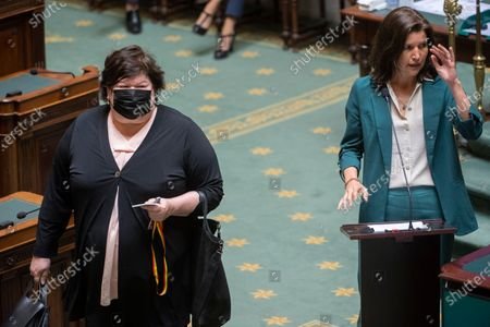 Stock Picture of Open Vld's Maggie De Block and N-VA's Valerie Van Peel pictured during a plenary session of the chamber at the federal parliament in Brussels, with a proposition of resolution on the violences inside families, Wednesday 21 April 2021.