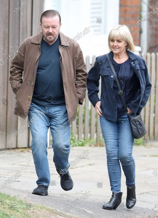 Ricky Gervais and Ashley Jensen filming on set of 'Afterlife'