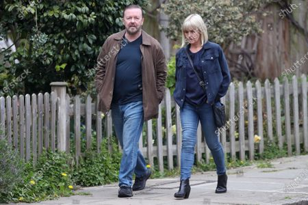 Stock Image of Ricky Gervais and Ashley Jensen filming on set of 'Afterlife'