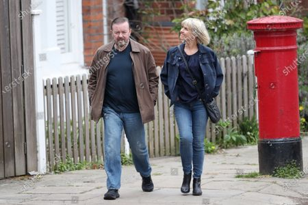 Stock Picture of Ricky Gervais and Ashley Jensen filming on set of 'Afterlife'