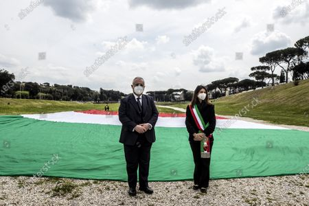 SS Lazio president Claudio Lotito (L) Mayor of Rome, Virginia Raggi (R) during the celebrations for the foundation of the city of Roma 'Natale di Roma' (Christmas of Rome)