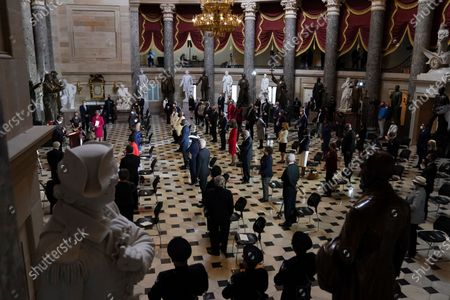 Stock Image of Rep. Emanuel Cleaver, D-Mo., left, speaks during a Celebration of Life for Rep. Alcee Hastings, D-Fla., in Statuary Hall on Capitol Hill in Washington, . Hastings died earlier this month, aged 84, following a battle with pancreatic cancer