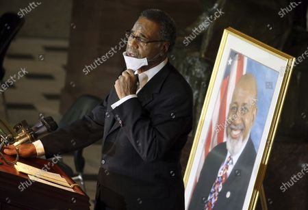 Stock Picture of Rep. Emanuel Cleaver, D-MO, speaks during a Celebration of Life for Rep. Alcee Hastings, D-Fla., in Statuary Hall on Capitol Hill in Washington, . Hastings died earlier this month, aged 84, following a battle with pancreatic cancer