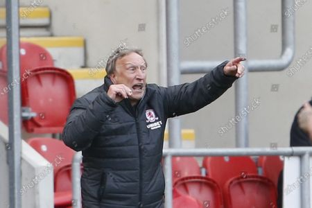 Middlesbrough manager Neil Warnock during the EFL Sky Bet Championship match between Rotherham United and Middlesbrough at the AESSEAL New York Stadium, Rotherham