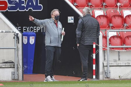 Middlesbrough manager Neil Warnock enjoying his return to the New York Stadium during the EFL Sky Bet Championship match between Rotherham United and Middlesbrough at the AESSEAL New York Stadium, Rotherham