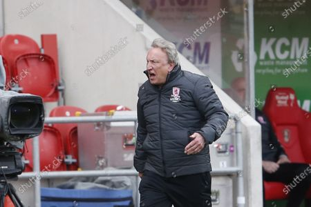 Middlesbrough manager Neil Warnock races down the touchline to confront Fourth Official  Andy Woolmer after Middlesbrough defender Grant Hall was injured in a collision with Rotherham United forward Matt Crooks  during the EFL Sky Bet Championship match between Rotherham United and Middlesbrough at the AESSEAL New York Stadium, Rotherham