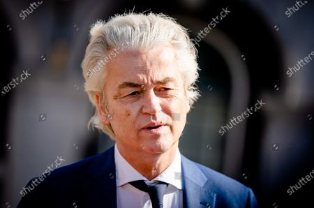 Stock Image of Geert Wilders (PVV) after a second conversation with informateur Herman Tjeenk Willink, in The Hague, the Netherlands, 21 April 2021. All off the party leaders were invited for a second talk with Tjeenk Willink.