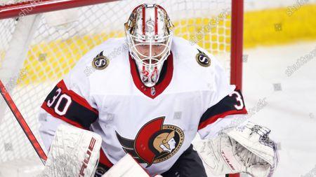 Ottawa Senators goalie Matt Murray during an NHL hockey game, in Calgary, Canada