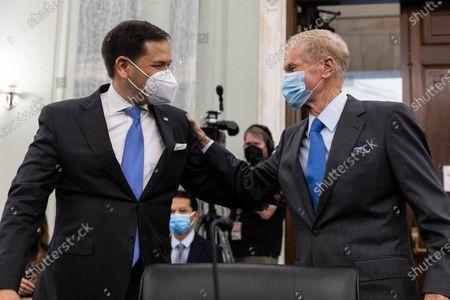 NASA Administrator nominee former US Senator Bill Nelson (Democrat of Florida), greets Senator Marco Rubio, R-FL, prior to the start a Senate Commerce, Science, and Transportation Committee nomination hearing on Capitol Hill, in Washington,.