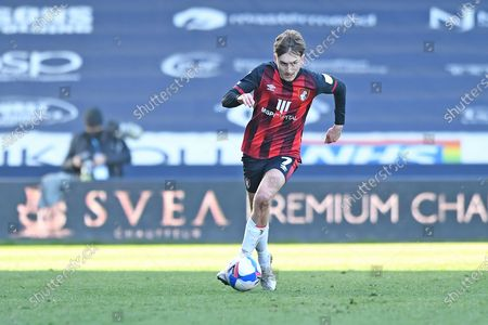 AFC Bournemouth midfielder David Brooks (7) runs forward during the EFL Sky Bet Championship match between Millwall and Bournemouth at The Den, London
