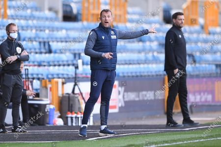 Stock Image of Millwall Manager Gary Rowett pointing, directing, signalling, gesture in the technical area during the EFL Sky Bet Championship match between Millwall and Bournemouth at The Den, London