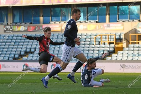 GOAL AFC Bournemouth midfielder David Brooks (7) scores a goal 0-3 during the EFL Sky Bet Championship match between Millwall and Bournemouth at The Den, London