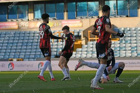 GOAL AFC Bournemouth midfielder David Brooks (7) scores a goal 0-3 and celebrates during the EFL Sky Bet Championship match between Millwall and Bournemouth at The Den, London