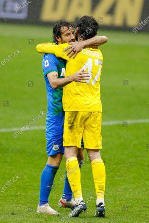 Gian Marco Ferrari (US Sassuolo Calcio) celebrates with Andrea Consigli (US Sassuolo Calcio) after the victory