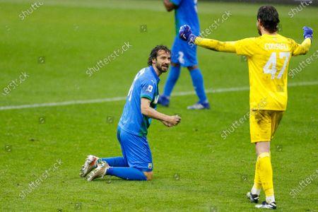 Gian Marco Ferrari (US Sassuolo Calcio) celebrates after the victory