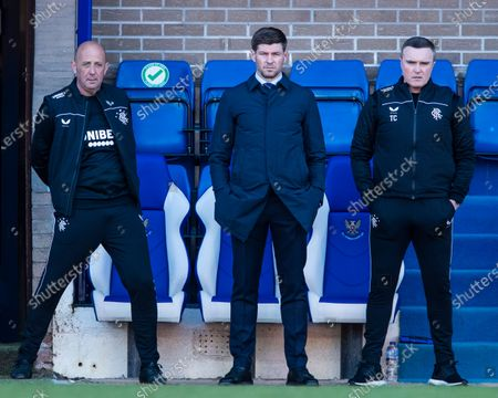 Rangers Manager Steven Gerrard, Assistant Manager Gary McAllister and Technical Coach Tom Culshaw during the Scottish Premiership match at McDiarmid Park, Perth.