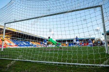 Scott Wright of Rangers scores past Zander Clark of St Johnstone during the Scottish Premiership match at McDiarmid Park, Perth.