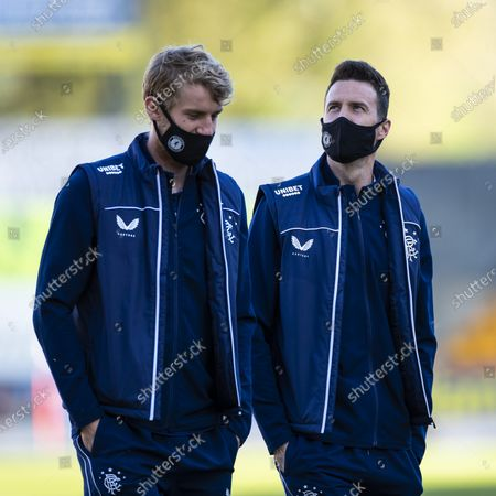 Filip Helander and Jon McLaughlin of Rangers on the pitch before the start of the Scottish Premiership match at McDiarmid Park, Perth.