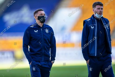Rangers captain James Tavernier and Jack Simpson on the pitch prior to kick off at the Scottish Premiership match at McDiarmid Park, Perth.