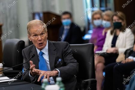 Stock Photo of NASA Administrator nominee Former Senator Bill Nelson, FL, testifies during a Senate Commerce, Science, and Transportation Committee nomination hearing on Capitol Hill, in Washington, DC, USA, 21 April 2021.