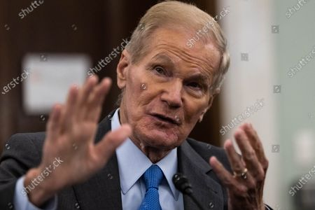 Stock Image of NASA Administrator nominee Former Senator Bill Nelson, FL, testifies during a Senate Commerce, Science, and Transportation Committee nomination hearing on Capitol Hill, in Washington, DC, USA, 21 April 2021.