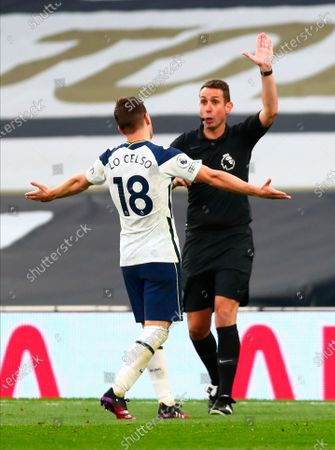 Tottenham's Giovani Lo Celso (L) argues with main referee David Coote (R) during the English Premier League soccer match between Tottenham Hotspur and Southampton FC in London, Britain, 21 April 2021.