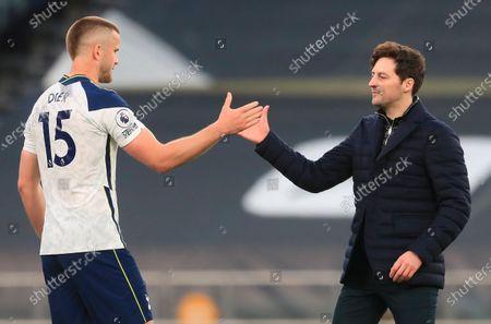 Tottenham's interim manager Ryan Mason (R) and Tottenham's Eric Dier (L) react after the English Premier League soccer match between Tottenham Hotspur and Southampton FC in London, Britain, 21 April 2021.