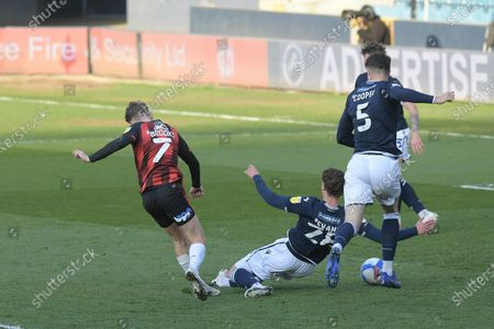 GOAL David Brooks of Bournemouth scores his teams third goal during the Millwall vs AFC Bournemouth, EFL Championship Football match at the New Den London held behind closed doors.