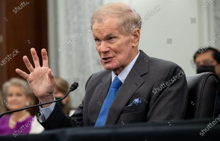 Stock Picture of Former US Senator Bill Nelson, nominee to be administrator of NASA, testifies during a  Senate Committee on Commerce, Science, and Transportation confirmation hearing on Capitol Hill in Washington, DC, USA, 21 April 2021.