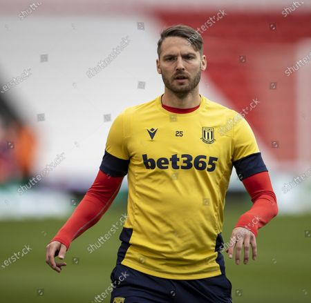 Nick Powell of Stoke City during the warm up; Bet365 Stadium, Stoke, Staffordshire, England; English Football League Championship Football, Stoke City versus Coventry.