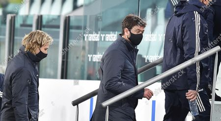 Juventus' chairman Andrea Agnelli (R) and Juventus' vice-president Pavel Nedved during the Italian Serie A soccer match Juventus FC vs Parma Calcio in Turin, Italy, 21 April 2021.